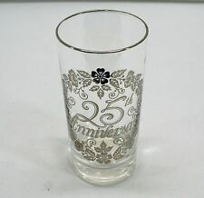 "25th Silver Anniversary Wedding Glass Tumbler 5.5"" Glasses"