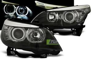 Paire de feux phares BMW serie 5 E60 / E61 de 2003 a 2007 angel eyes led noir