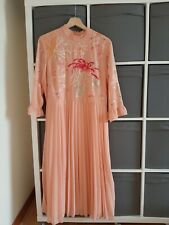 ASOS pink floaty pleated midi summer dress size 16 embroidery floral detail