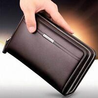 Men Leather Business Clutch Bag Handbag Wallet Purse Mobile Phone Card Holder