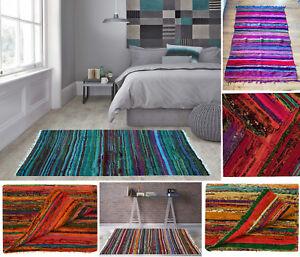 Indian Chindi Rag Rug Home Floor Decor Runner Yoga Mat Carpet Hand Woven 5'x3'