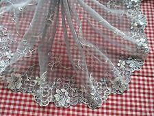 """1Y~8""""~Lace Trimming Tulle Embroidered Floral Bunch Wedding Light-Gray and White"""