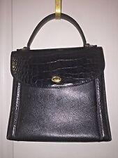 Vintage CLASSIC BALLY Pebbled Black Leather/ Moc Crocodile KELLY Hand Bag🎁NWOT