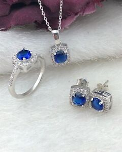 AAA Quality 925 Sterling Silver Handmade Jewelry Top Rich Blue Sapphir Full Set