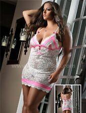 Sexy Lace Babydoll set Lingerie Nightie Sleepwear with G-string Plus Size 2XL