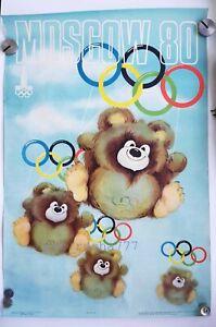 XXII Moscow-1980 Summer Olympics Games Mascot MISHA BIG Size Art POSTER RARE