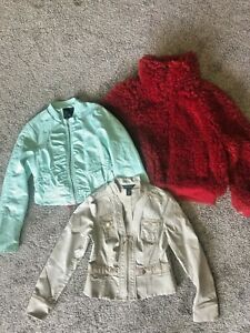 Lot of 3 women's Jackets, Am Eagle Poodle Bomber NWT, Last Kiss Leather, WHBM