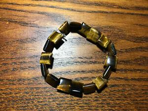 Natural Tiger Eye Gemstone Squares Beaded Stretch Bracelet