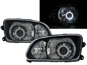 700 08-ON Truck Guide LED Halo Projector Headlight W/ Motor Black for HINO RHD