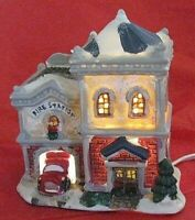 Wellington Square Collection Fire Station Lighted Village House with Cord 2004