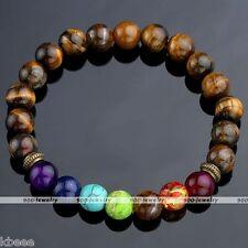 7 Chakra Healing Balance Bracelet Tiger's Eye Bead Yoga Reiki Healing Gemstone