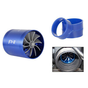 Air Intake Turbonator Dual Fan Turbine Gas Fuel Saver Supercharger Power Blue