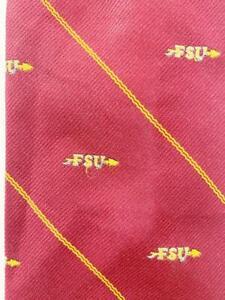 PIN TAIL FSU ARROW RED YELLOW STRIPE POLY SILK NECKTIE TIE MAU1020A #Y31