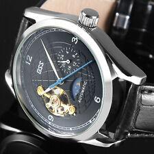 Montre ESS bracelet poignet cuir noir longitude mécanique automatique squelette