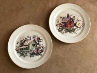 Pickard Bird hand decorated porcelain plate china lot pair chickadee bird house