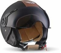 MOTO H44 JET-HELM MOTORRAD ROLLER RETRO VINTAGE BLACK LEDER SHWARZ (XL 61-62)