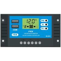 10A 12V 24V LCD Display PWM Solar Charge Controller Dual USB Panel Charger UK