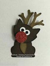 Christmas Reindeer Punch Art Stampin Up Cardstock Kit with Tutorial – makes 4