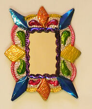 Unique Mexican Tin Mirror Multicolor Wall Hanging Ornament Hand Punched 25