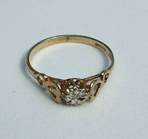 Celtic double heart ring 9ct Yellow Gold Solitaire, Ring Hallmarked 375 Size M