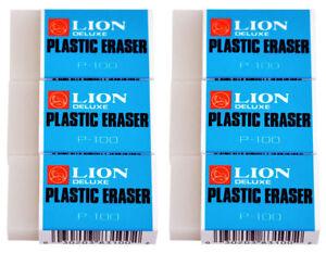 ***(6)  LION PLASTIC ERASERS P-100  ~WORLD BEST ERASER~***