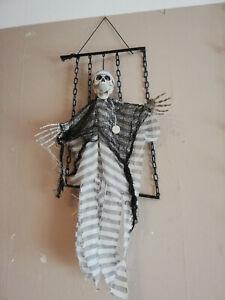 Halloween Animatronic Skelett im Käfig Gefangener Deko Grusel Figur Party TOP