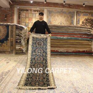 Yilong 2.5'x9' Long Handmade Silk Rugs Runners Hallway Lobby Carpets Strip 108B