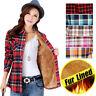 Womens Thick Cotton Long Sleeve Shirt Coats Fur Lined Slim Fit Plaid Tops J06