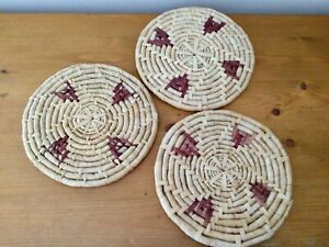 Wicker Straw Set of 3 Round Place Table Mats Boho Vintage Cottagecore: Exc Cond