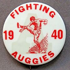 "1940 FIGHTING AUGGIES Augsburg College Minnesota football 2 1/8"" pinback button"