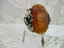 Stunning Vintage 925 Sterling Silver Ring~Large Baltic Amber~Hand Crafted