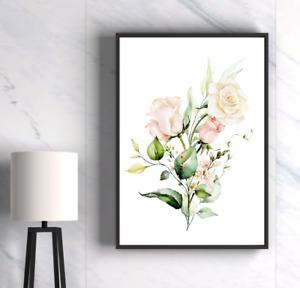Botanical Rose Print Wall Art Decor Green & Gold Leaves Line Art Watercolour VN1