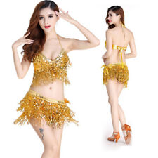 Belly Dance Bikini Top + Skirt Hip Scarf Set Sequined  Fringe Bollywood Costume