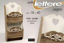 PORTA LETTERE IN LEGNO MARRONE BIANCO DECORATO 18*40 CM TOD-614200