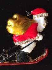 "Skiing Snow Ski Slop Pin Brooch 2"" Rhinestone Christmas Bag Of Toys Santa Claus"