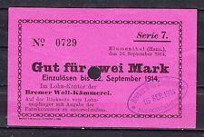 Blumenthal-bremer Woll-kämmerei - 2 mark-serie 7 - 22. sept. 1914