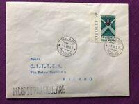 """FDC Italia Repubblica 1958 """"Esposizione di Bruxelles"""" busta con piega in basso"""