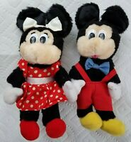 "Vintage Applause Mickey and Minnie Mouse Plush Stuffed Toy Pair 8"" Walt Disney"