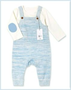 Mothercare Baby Boys Blue Cream Knitted Dungaree & Long Sleeve Bodysuit Outfit
