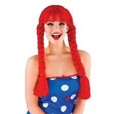 Womens Red Knitted Ragdoll Party WIG (Fancy Dress Costume) 8163