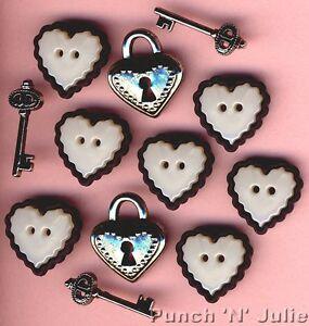 LOVE STORY - Pearl Effect Hearts Locks Keys Wedding Dress It Up Craft Buttons