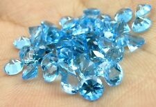 16.2Ct 50pc Lot Natural Swiss Blue Topaz Round 4mm Faceted Gemstones