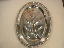 Sheridan Silver Tray Meat Tray Footed Gadroon Feathers Rococo Silver Copper