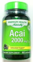 Double Strength Acai Berry 2000mg Antioxidant 20:1 Extract 60 Capsules Pills
