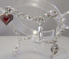 """VTG EST Sterling Silver 925 Designer 4 Charm Double Curb Link 8"""" Charm Bracelet"""