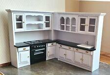 Dollhouse Miniature Corner Kitchen Set Cupboards Sink Stove 1:12 Scale White
