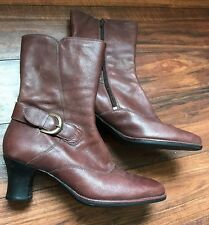 Clarks 10 M Mid Calf Boots Brown Leather Side Zip Heel Women's Shoes