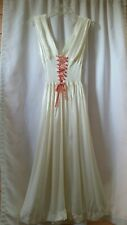 Vintage 30'S 40'S Satin Nightgown Tailored By Weisman With Heart Ribbon Lacing S