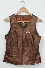 Harley Davidson bronze studded motorcycle leather waistcoat vest size women's S