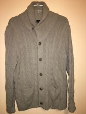J. Crew Mens Lambs Wool Cashmere Cable Knit Shawl Cardigan Beige Sz M Button